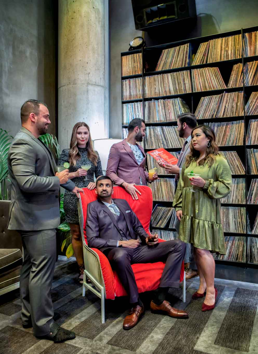 Lifestyle / Branding Photography picture of dentists dressed up in a record room at the W Hotel Personal Branding
